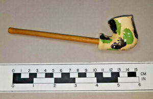 Vintage reproduction Moravian clay pipe with reed made in Old Salem NC