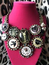 Betsey Johnson Wonderland In Alice White Rabbit Tea Party Clock Cameo Necklace