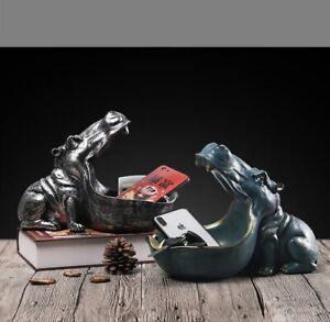 Hippo storage figurine Resin Hippopotamus Statues Modern Home