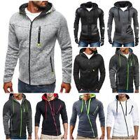 Men Hoodie Zip Jacket Coat Sweatshirt Slim Fit Long Sleeve Casual Jumper Outwear