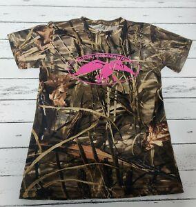 Duck Commander Girls Sz Medium Camo T Shirt Short Sleeve Pink