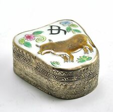 Vintage Chinese Shard Box Tibetan Silver Porcelain Jewelry Mirror Cow Ox Zodiac