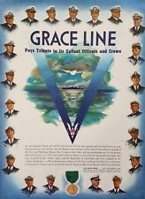 1942 Grace Lines Ww Ii Ship Captains Medal Merchant Marines Vintage Print Ad