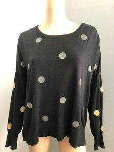 Miss Shop L/sleeve over-sized cotton blend knitted black dotty jumper M EUC