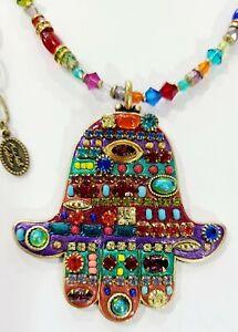 Michal Golan Signed Hamsa Necklace -Amazing Colors Beading & Swarovski Crystals
