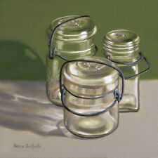 DANFORTH Canning Jars On Green 8x8 still life realism oil painting
