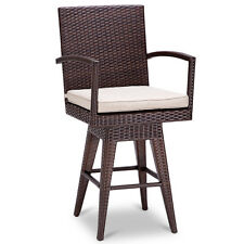 Outdoor Wicker Swivel Bar Stool Chair Patio Backyard Furniture Seat Cushion