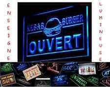 LED PANNEAU LUMINEUX 40x30 RESTAURANT COMMERCE BURGER KEBAB OUVERT PUB ENSEIGNE