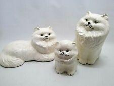 lot 3 Ceramic Persian Style white Cat figurines