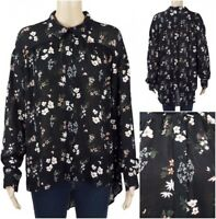 New Ex M&S Ladies Black Floral Long Sleeve Party Blouse Size 10 - 24 Chiffon