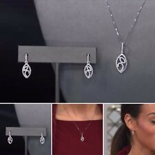 14K White Gold 0.28ctw Diamond Drop Earring & Pendant Set