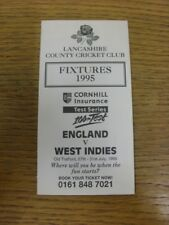 1995 Cricket: Lancashire County Cricket Club - Fixtures Booklet, 4 Pages. If thi