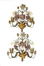 Pair of Antique French Bronze Two Light Wall Sconces with Cut Crystal Flowers