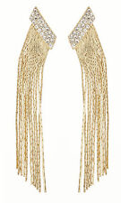 CLIP ON EARRINGS - gold earring with clear crystals and linked strands - Cal G