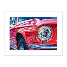Vintage Red Car Headlight Canvas Wall Art Print