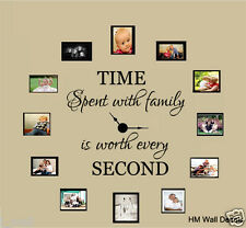 """TIME SPENT WITH FAMILY IS WORTH EVERY SECOND"" inspiration quote wall decal"