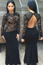 Black Evening Maxi Dress with Sheer Lace Long Sleeves Party One Size(UK8-10)