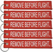 5X REMOVE BEFORE FLIGHT Red Key Chain Woven Keyring High Quality Key tag