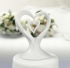 Cake topper cuore doppio porcellana bianca matrimonio statuina cuori torta