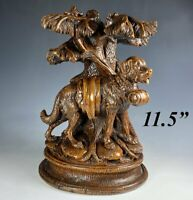 RARE Antique HC Black Forest Saint Bernard Dog, Epergne, Candle or Lamp Stand