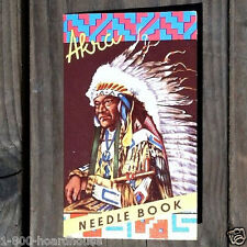 2 Vintage Original 1940s AKRA INDIAN CHIEF Sewing Needles Promo Giveaway NOS