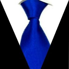 Brand New formal wedding groom Solid Mens Silk Tie Royal blue Necktie S05
