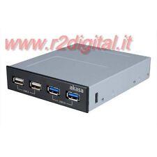 HUB 3.5 POLLICI INTERNO AKASA 4 PORTE USB 2.0 + 3.0 NERO BIANCO PC COMPUTER