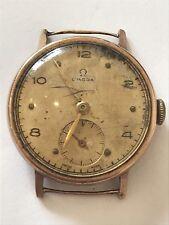 1940's Vintage 9ct Gold Mid Size Omega Swiss Hand Wind Wrist Watch 15 Jewel