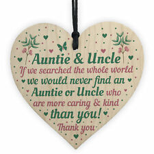 Auntie and Uncle Gifts for Birthday Christmas Wood Heart Gift From Niece Nephew