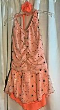 Ice Skating Women's Medium Dress Adult Peach Sequined Roller Dance Outfit