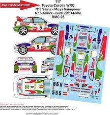 AUFKLEBER 1/18 REF 117 TOYOTA COROLLA WRC SAINZ RALLYE AUFBAU CARLO 1998 RALLY