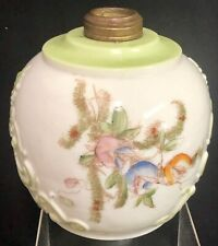 """Antique 8"""" Embossed White & Green Hand Painted Flowers Floral Glass Lamp Font"""
