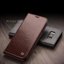 Para Samsung Galaxy s8+ plus funda funda de cuero estuche, cuero auténtico + 2x display diapositivas