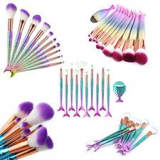 10Pcs Kabuki Mermaid Make up Brushes Eye Shadow Blusher Face Powder Foundation