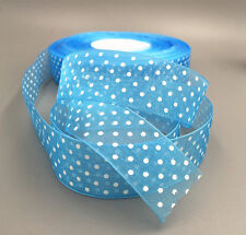 10Yards 25mm blue dot Satin Edge Sheer Organza Ribbon Bow Wedding decoration