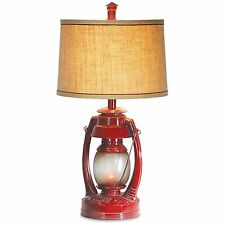 Vintage Red Lantern Table Lamp Flicker Night Light Rustic Cabin Camping