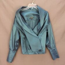 Samuel Dong Jacket Sz S Statement Sleeve Teal Satin Shawl Collar Victorian Cuffs