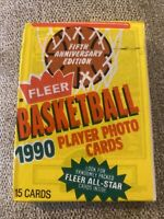 1990-91 FLEER BASKETBALL WAX PACK WITH MICHAEL JORDAN ALL-STAR SHOWING ON Back