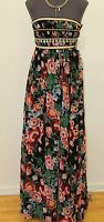 NWT Pearl Georgina Chapman of Marchesa Floral Black Gypsy Strapless Dress 0-12