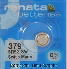 1 pc 379 Renata Watch Batteries SR521SW FREE SHIP 0% MERCURY
