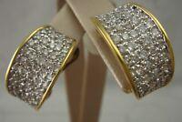 VINTAGE NOLAN MILLER PAVE CLEAR RHINESTONE GOLD TONE HALF HOOP EARRINGS