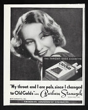 OLD GOLD'S cigarette barbara stanwyck hollywood movie 295 1935 Vintage Print Ad