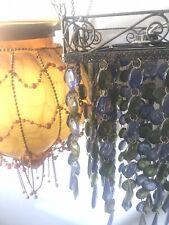 Large Beautiful RETRO Amber Glass Vintage Blue Glass Hanging Swag Lamp Light Lot