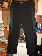 MARC CAIN BLACK STRETCH STRAIGHT PANTS WITH SIDE INSERTS-S36,8-UK