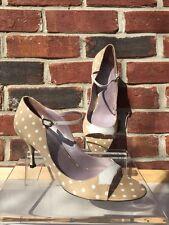 JEAN MICHEL CAZABAT Beige Nude Canvas Open Toe Shoes Polka Dot 6.5 36.5* RARE!!!
