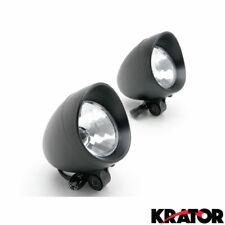 Motorcycle Custom Black Bullet Passing Fog Lights (2) Mini Light With Visor
