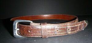 Vintage Polo Ralph Lauren Belt Buckle Set Lizard Sterling Silver C. 1985 sz 28