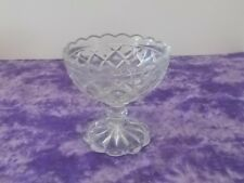 Vintage Diamond Crisscross Cut Glass Goblet Sherbet Dessert Cup #2