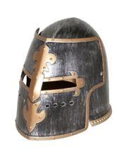 Silver Pewter Knight Roman Armor Crusader Helmet Mask Medieval Adult Costume
