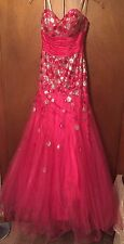 Tony Bowls Le Gala Formal Prom Dress Size 8 Form Fitting Hot Pink & Silver Flair